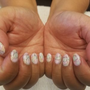 water stain marble gel manicure